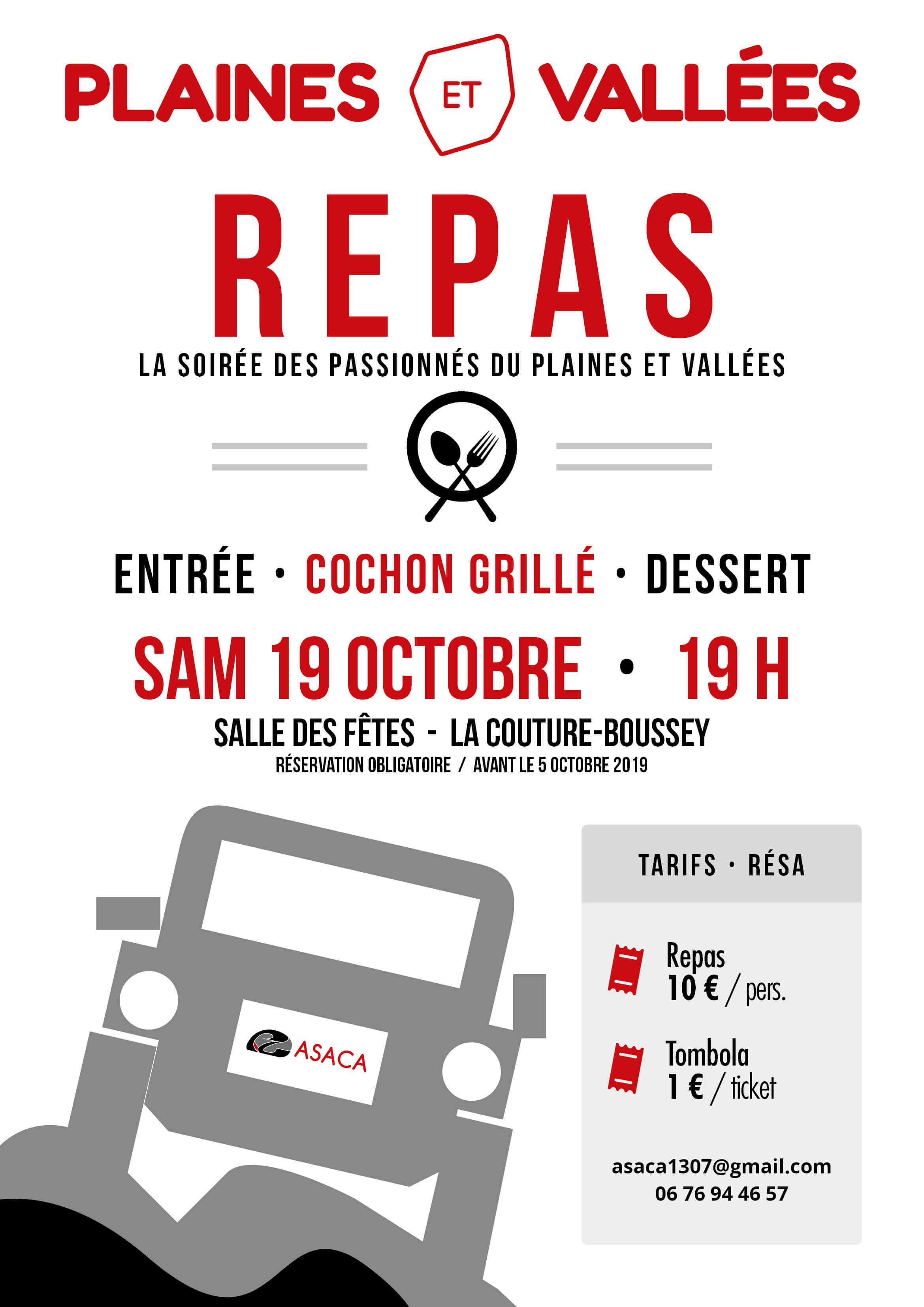 Affiche repas cochon grillé 2019 Rallye TT Plaines et Vallées Championnat de France