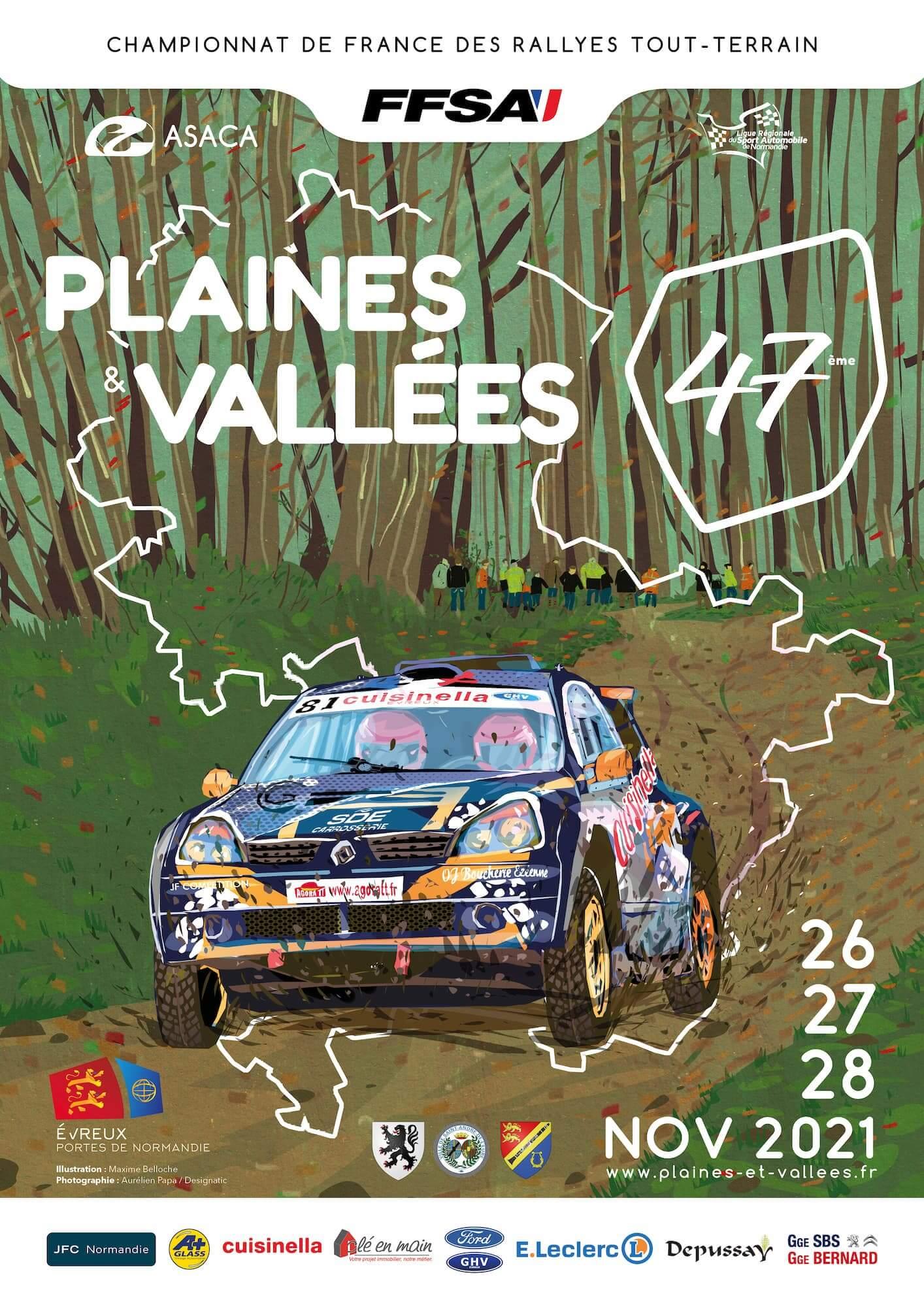 affiche rallye tout-terrain tt plaines et vallées 2021 47e Evreux Saint-André de l'Eure Normandie FFSA ASACA photo
